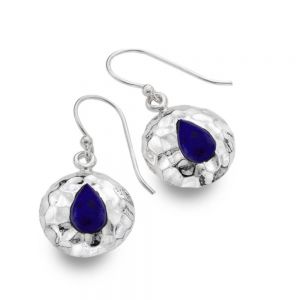 Gorgeous Sterling Silver Jewellery: 14mm Diameter Hammered Round Earrings with Lapis Lazuli Teardrops (E292)B)