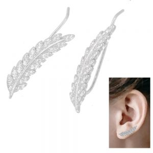 Fabulous Sterling Silver Jewellery: Crystal Detailed Long Feather Ear Pins / Crawlers (5mm x 24mm) (E700)