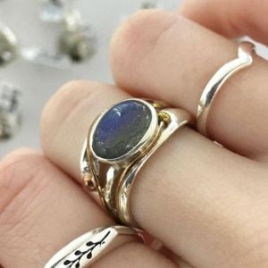 Sterling Silver and Labradorite Ring with Gold Detail
