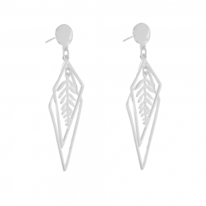 Sterling Silver Jewellery: Elongated Overlapping Diamond Shape Earrings with Leafy Frond Centres (15mm x 55mm) (E65)