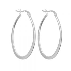 Classic Sterling Silver Jewellery: Large 53mm Hooped Earrings with Clip FasteningClassic Sterling Silver Jewellery: Large 53mm Hooped Earrings with Clip Fastening