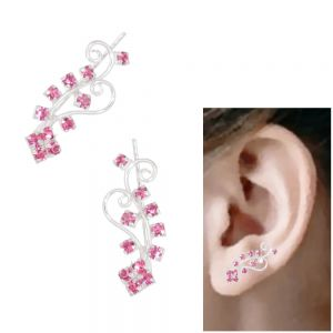 Fabulous Sterling Silver Jewellery: Swirly Design Pink Crystal Detailed Ear Pins / Crawlers (6mm x 20mm) (E36)blue) pink