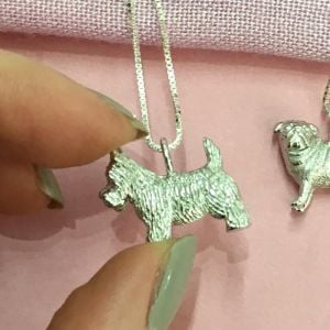NEW Sterling Silver Jewellery: Small Textured Scotty Dog Pendant