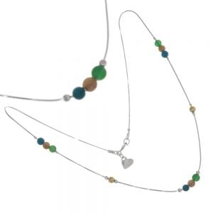 Sterling Silver Morning Dew Collection: Delicate 40cm Necklace with Blue Opal and Gold Beads (N230)