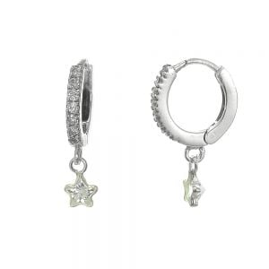 Celestial Sterling Silver: Tiny CZ Crystal Huggy Hoops with Star Charms (12mm x 20mm) (e392)