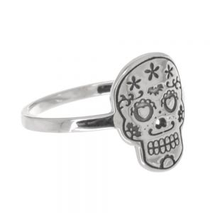 Sterling Silver Jewellery: Contemporary Ring with 'Day of the Dead' Sugar Skull Design