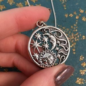 Celestial Sterling Silver Jewellery: 26mm Pendant with Star, Moon, Sun and Waves Design (N133)