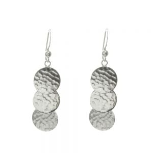 Sterling Silver Jewellery: Overlapping Circle Earrings with Hammered Finish (12mm x 48mm)