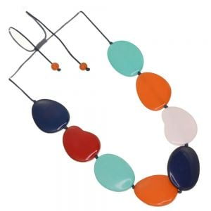Gorgeous Adjustable Cord Necklace with Glossy Red, Orange and Mint Striped Resin Pebble Beads (SB66)