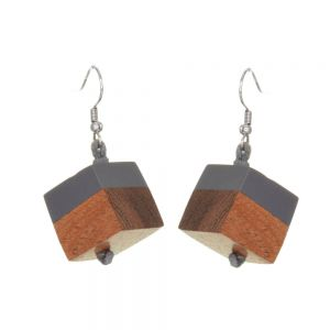 Grey Blue offset resin and natural wood cube drop earrings 1.8 cm (SB65)GR