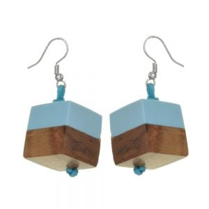 Sky Blue offset resin and natural wood cube drop earrings 1.8 cm (SB65)B