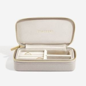 STACKERS Collection: Taupe Faux Leather and Velvet Zipped Travel Jewellery Storage Box (ST7)