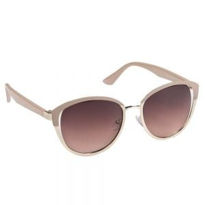 Eyelevel Women's Sunglasses: Neutral Beige and Gold Rounded Design (SU36)