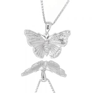 Beautiful Sterling Silver Jewellery: Gorgeously Detailed Butterfly Pendant (17mm x 20mm) (N251)S)