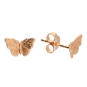 Beautiful Sterling Silver Jewellery: 10mm x 6mm Rose Gold Butterfly Stud Earrings (E84)