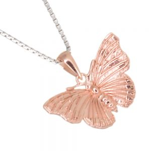 Beautiful Sterling Silver Jewellery: Gorgeously Detailed Rose Gold Butterfly Pendant (17mm x 20mm) (N251)RG)
