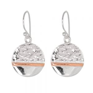 Gorgeous Sterling Silver Jewellery: Part-Textured Silver and Rose Gold *Horizon* Earrings (24mm x 14mm) (E64)