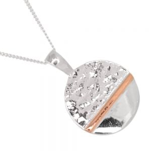 Gorgeous Sterling Silver Jewellery: Part-Textured Silver and Rose Gold *Horizon* Pendant (25mm x 19mm) (N262)
