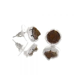 Beautiful Fashion Jewellery: Small and Delicate Black Druzy and Silver Tone Stud Earrings [1cm Diameter] (I33)B)