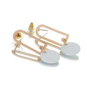 Contemporary Fashion Jewellery: GOLD Rounded Oblong  Earrings with Matt Duck Egg Blue Coin Drops (43mm x 14mm) (I23)H)