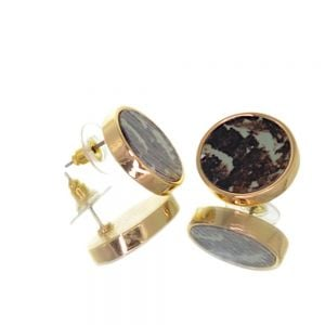 Contemporary Fashion Jewellery:  1.8cm Gold and Wooden Khaki Chunky Circle Stud Earrings (I46)A)