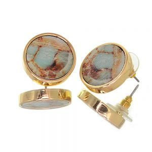 Contemporary Fashion Jewellery:  1.8cm Gold and Turquoise Marbled Wooden Chunky Circle Stud Earrings (I46)D)