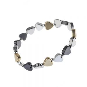 Gorgeous Fashion Jewellery: 5cm Stretch Bracelet with Matt Gold, Silver and Black Hematite Tone Heart Beads (M381)