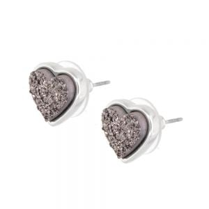 Lovely Fashion Jewellery: Delicate 1.5cm Iridescent Grey Druzy Heart  Stud Earrings (M238)C