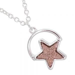 Celestial Fashion Jewellery: Delicate 40cm Chain with Iridescent Pretty Peach Druzy Star (M191)B)