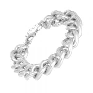 Bold Fashion Jewellery: 19cm Heavy Chain Link Matt Bracelet (M68)B) silver