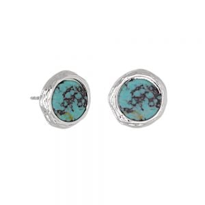 Contemporary Fashion Jewellery: Small 10mm Textured Silver and Turquoise Stud Earrings (I50)B)