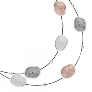 Contemporary Fashion Jewellery: Black Wire Layered Necklace with Concave Textured Multi-Tone Pebbles (M10)