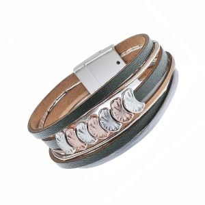 Faux Leather Fashion Jewellery: Magnetic Black, Rose Gold and Tan Tone Bracelet with Rose Gold and Silver Crescents (M248)B)