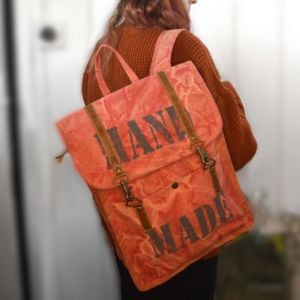 Handcrafted Upcycled Bags: Peach Perfect Canvas Backpack (BG6)