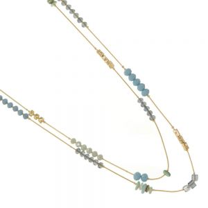 SEMI-PRECIOUS Fashion Jewellery: 106cm Long Layered Gold Necklace with Aquamarine Crystal and Faceted Pastel Blue and Mint Beads (EV6)A)