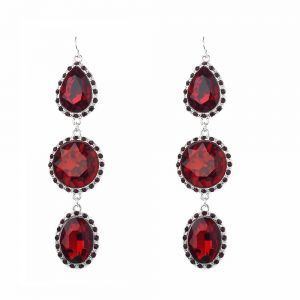 Beautiful Fashion Jewellery: 9cm Dangly Earrings with Large Red Crystal Teardrops and Ovals (M322)R)