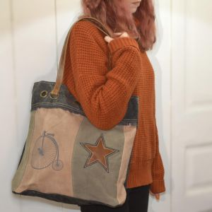 Handcrafted Bhrayna Bags: Peach Tote Bag with Penny Farthing Bicycle and Star Design (BG11)