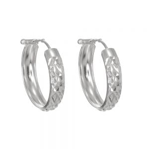 Classic Sterling Silver Jewellery: Diamond Cut 25mm Hoop Earrings (E648)