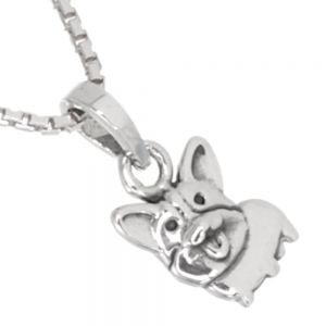 Cute Theme Sterling Silver Jewellery: Small Corgi Dog Pendant (7mm x 14mm) (N193)