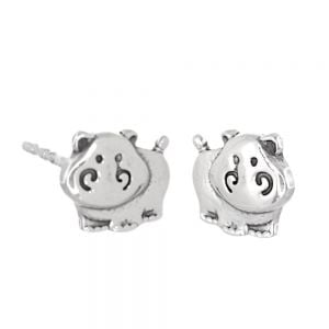 Animal Theme Sterling Silver Jewellery: Cute Hippo Stud Earrings (7.5mm x 6mm) (E490)