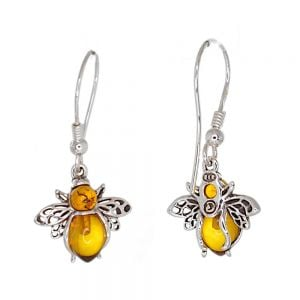 Quirky Sterling Silver: Lovely Bumblebee Earrings with Cognac Amber Body (15mm Wingspan) (E271)