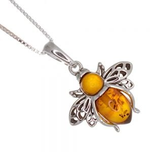 Quirky Sterling Silver: Lovely Bumblebee Pendant with Cognac Amber Body (20mm Wingspan) (N229)