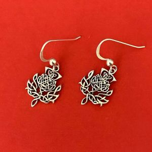 Sterling Silver Jewellery: Oxidised Scottish Thistles Shaped Knotwork Earrings (13mm x 31mm) (E515)