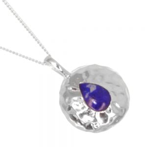 Gorgeous Sterling Silver Jewellery: 18mm Diameter Hammered Round Pendant with Lapis Lazuli Teardrop (N288)B)