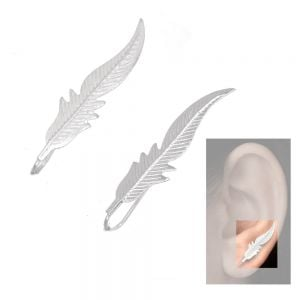 Lovely Sterling Silver Jewellery: Elegant Feather Ear Crawlers (8mm x 37mm) (E60)