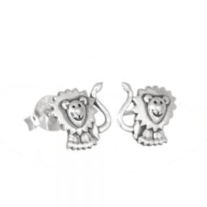 Animal Theme Sterling Silver Jewellery: Cute Lion Stud Earrings (8mm x 7.5mm) (E66)