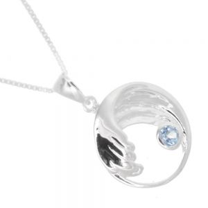 Contemporary Sterling Silver Jewellery: Ocean Wave with Blue Topaz Stone Pendant (19mm Diameter) (N196)