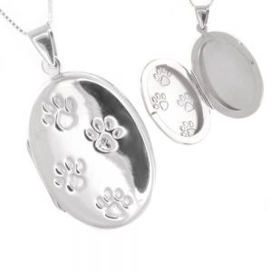 Lovely Sterling Silver Jewellery: Oval locket Pendant with Pawprints Design (23mm x 43mm) (N356)