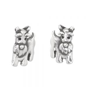 Animal Theme Sterling Silver Jewellery: Cute Schnauzer Dog Stud Earrings (4mm x 7mm) (E250)
