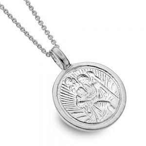 Lovely Sterling Silver Jewellery: 16mm Diameter St Christopher Charm Pendant  (N185)